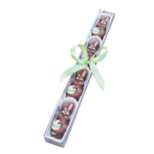 Pudełko blister 30x3cm z czekoladowymi królikami