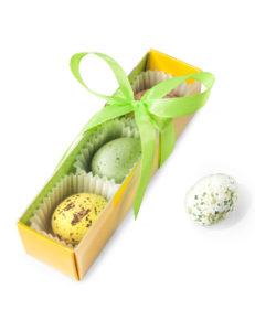 Pudełko blister 10x3x3cm w kolorze zielono - żółtym.