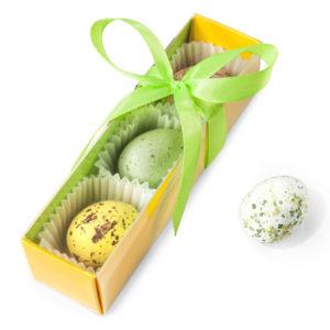 Pudełko blister 10x3x3cm w kolorze zielono – żółtym.