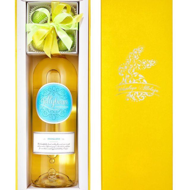 zestaw upominkowy na 1 wino żółto biały